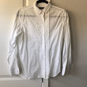 Equipment oxford tuxedo white button down shirt